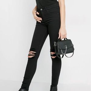 Express High Waisted Distressed Jeans Black 00